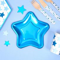 Small Foil Blue Star Plates (8)
